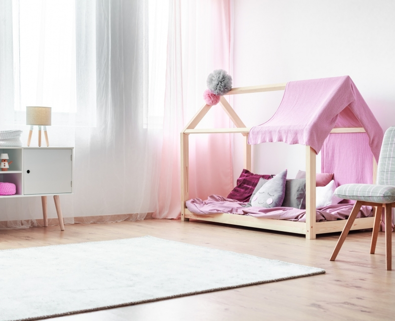 Charming,Girl's,Bedroom,With,Handmade,Bed,With,Pink,Bedsheets,And